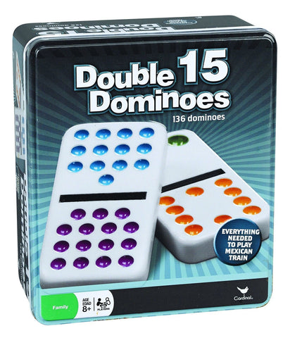 Double 15 Color Dot Dominoes in a Collectors Tin (styles will vary) - Chickadee Solutions - 1