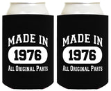 40th Birthday Gift Coolie Made 1976 Can Coolers Coolies 2 Pack Black - Chickadee Solutions - 1