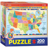 EuroGraphics Map of the United States of America Jigsaw Puzzle (200-Piece) - Chickadee Solutions