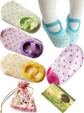 BS 5 Pairs 8-36 Months Baby Girl Toddler Anti Slip Skid foot Socks + Gift bag... - Chickadee Solutions - 1
