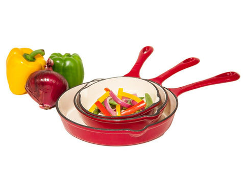 Heuck 33204 3-Piece Porcelain Enamel Cast Iron Skillet Set Red - Chickadee Solutions