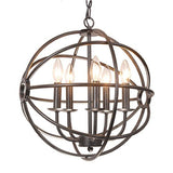 Benita 5-light Antique Black Metal Strap Globe Chandelier - Chickadee Solutions