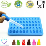 50 Cavity Silicone Gummy Bear Candy Mold - BONUS easy fill Dropper - Chickadee Solutions - 1