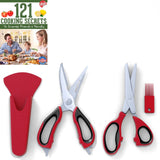 Kitchen Herb Shears (5 Blades) and Multi-purpose Kitchen Scissors Set Red and... - Chickadee Solutions - 1