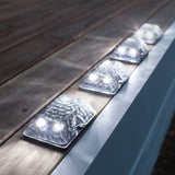 Set of 4 White LED Solar Powered Garden Glass Path Lights - Chickadee Solutions - 1