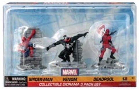 Marvel Collectible Diorama Spiderman - Venom - Deadpool Action Figure Set (Pa... - Chickadee Solutions