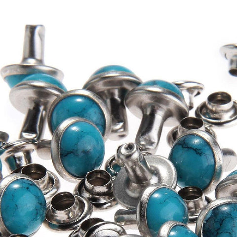 8MM Blue Turquoise Rivets Rapid Rivets Studs DIY Leather Craft Decorative for... - Chickadee Solutions - 1