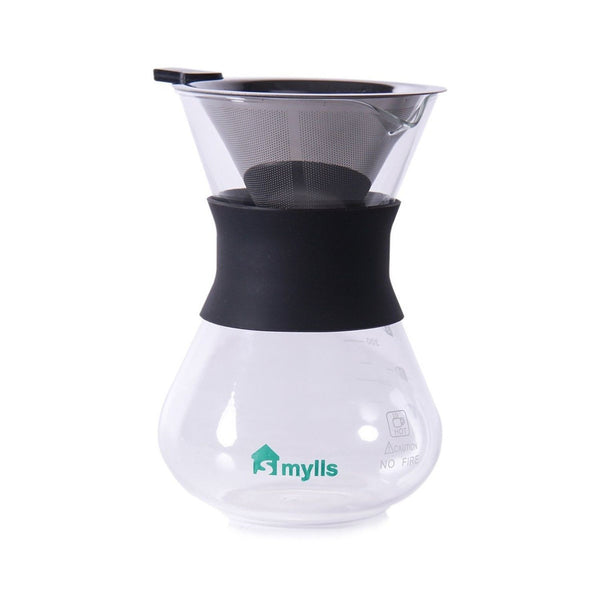 SMYLLS Hand Drip Coffee Maker For Pour Over Coffee3 Cup(12 oz) Glass Carafe w... Chickadee ...