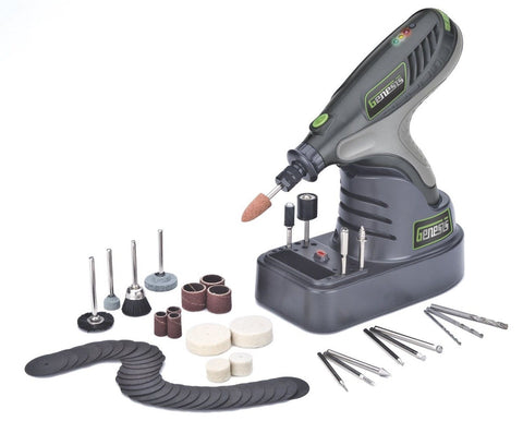 Genesis GLHT72-65 7.2V Lithium-Ion Rotary Tool with 65 Accessories Grey - Chickadee Solutions - 1