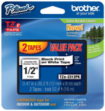 Brother P-touch ~1/2-Inch Standard Laminated Tape Black on White 26.2-Feet (2... - Chickadee Solutions - 1