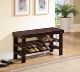 Espresso Finish Solid Wood Storage Shoe Bench Shelf Rack - Chickadee Solutions
