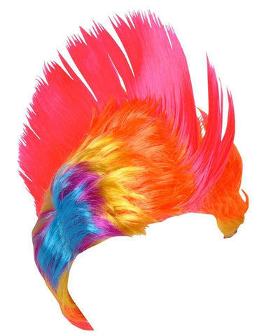 Adult Rainbow and Pink School and Team Spirit Mohawk Wig - Chickadee Solutions