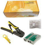 UbiGear Cable Tester +Crimp Crimper +100 RJ45 CAT5 CAT5e Connector Plug Netwo... - Chickadee Solutions - 1