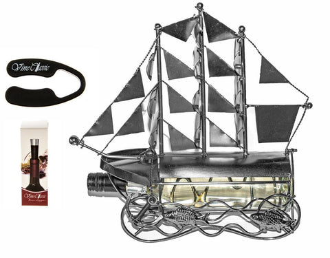 Fabulous Sailboat Wine Bottle Holder Plus a Wine Foil Cutter and a Wine Bottl... - Chickadee Solutions - 1