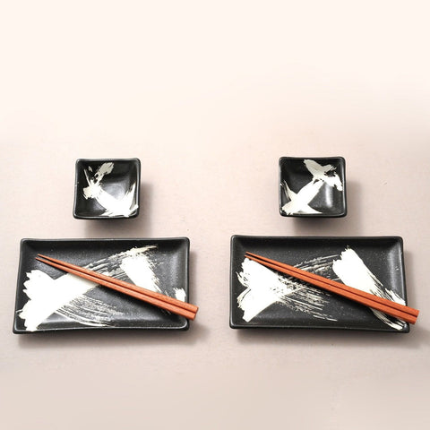 Black Brush Stroke Japanese Sushi Set for Two - Chickadee Solutions