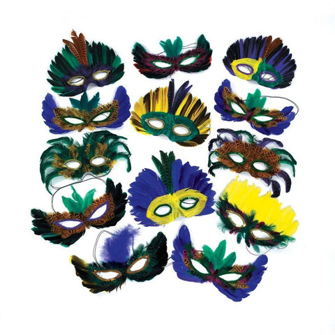 12 Feather Mardi Gras Masks Costume Party Masquerade - Chickadee Solutions