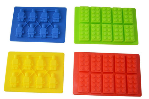 Bekith Building Bricks and Minifigure Silicone Ice Cube Tray & Candy Mold - S... - Chickadee Solutions - 1