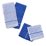 4 Piece Blue Checkered Kitchen Towel Set with Dish Cloths 4 Piece - Chickadee Solutions - 1
