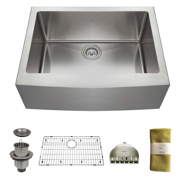 24 Inch Stainless Steel Farmhouse Sink : 24 Inch Farmhouse Apron Deep Single Bowl 16 Gauge Stainless Steel ...