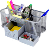 DecoBros Desk Supplies Organizer Caddy Silver - Chickadee Solutions - 1