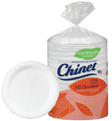 Chinet Big Party Pack Heavy Weight Paper Plates Classic White225 Count - Chickadee Solutions