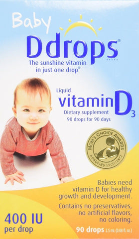 Ddrops Baby 400 IU Vitamin D 90 drops 2.5mL (0.08 fl.oz) 1 Pack - Chickadee Solutions - 1