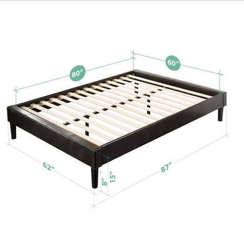 Essential Faux Leather Platform Bed Frame Mattress Foundation