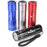 Pack of 4 BYB Super Bright 9 LED Mini Aluminum Flashlight with Lanyard Assort... - Chickadee Solutions - 1