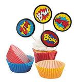 Fun Express Superhero Cupcake Liners With Picks - 100 Pieces - Chickadee Solutions