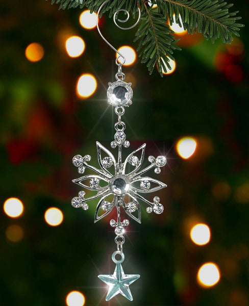 Silver snowflake ornament metal and clear crystal