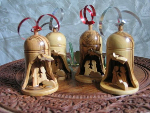 4 Olive Wood Bell Christmas Ornaments From Bethlehem - Chickadee Solutions - 1
