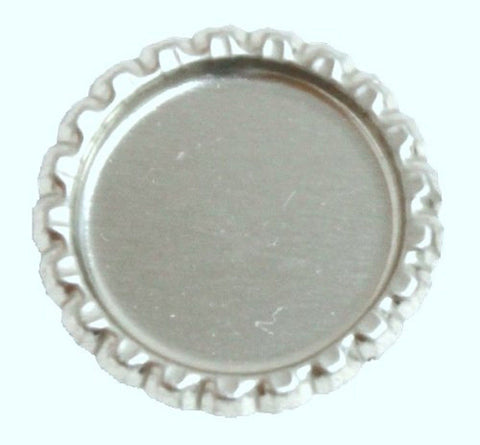 100 Flattened Chrome Bottle Caps Silver Bottlecaps Flat 1 - Pack - Chickadee Solutions