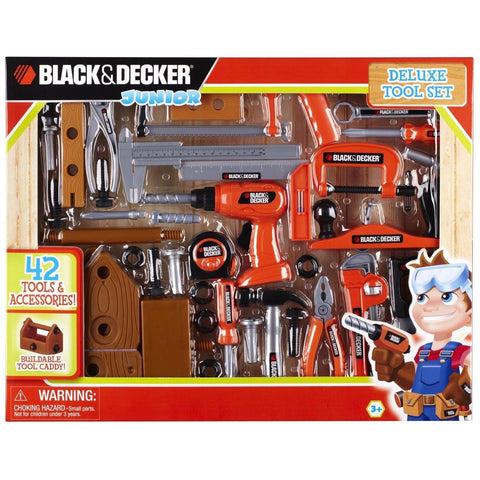 Black and Decker 90320 Junior Deluxe 42-Piece Toy Tool Set with Toolbox - Chickadee Solutions - 1