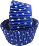 Regency Wraps Greaseproof Baking Cups Cobalt Blue Polka Dots 40-Count Standard. - Chickadee Solutions