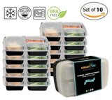 3-Compartment Bento Lunch Box / Sturdy Plastic Food Containers (Set of 10) wi... - Chickadee Solutions - 1