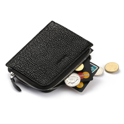 MEKU Soft Leather Zipper Change Purse Coin Wallet Card Holder for Men and Women - Chickadee Solutions - 1