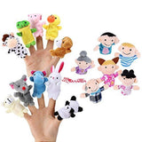 16 Pack Finger Puppet Set - MANSA 10 Animals + 6 People Family Members Educat... - Chickadee Solutions - 1