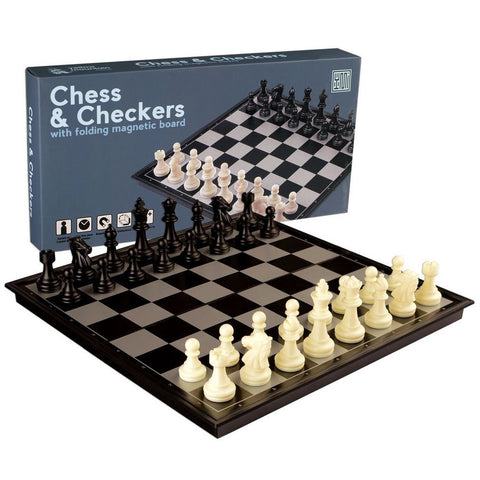2 in 1 Travel Magnetic Chess and Checkers Set - 12.5'' - Chickadee Solutions - 1