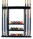 Iszy 6 Pool Cue-Billiard Stick Wall Rack Made of Wood Black Finish - Chickadee Solutions - 1
