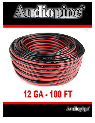 100 feet 12 GA Gauge Red Black Stranded 2 Conductor Speaker Wire Car Home Audio - Chickadee Solutions - 1