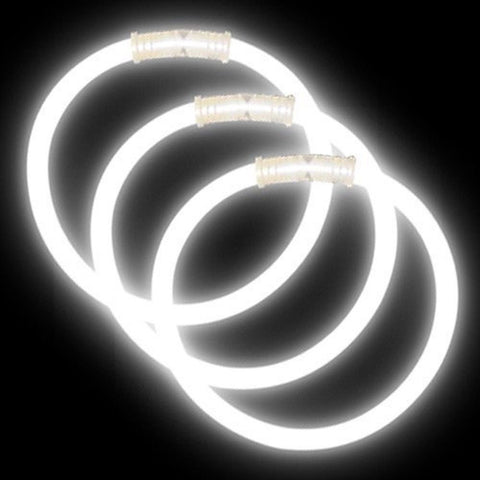 "8"" Glow Bracelets Premium: White (100-Pack) - Chickadee Solutions"