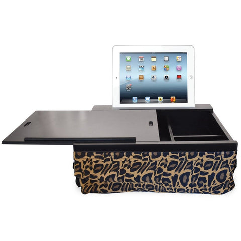 iCozy Portable Cushion Lap Desk With Storage - Leopard Black with Leopard - Chickadee Solutions - 1