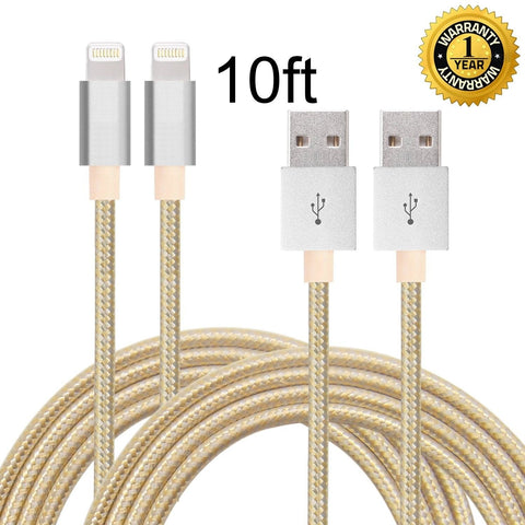 IFaxnn 2pcs 10FT Lightning Cable Popular Nylon Braided Charing Cable Extra Lo... - Chickadee Solutions - 1