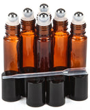 6 New High Quality Amber 10 ml Glass Roll-on Bottles with Stainless Steel Rol... - Chickadee Solutions - 1