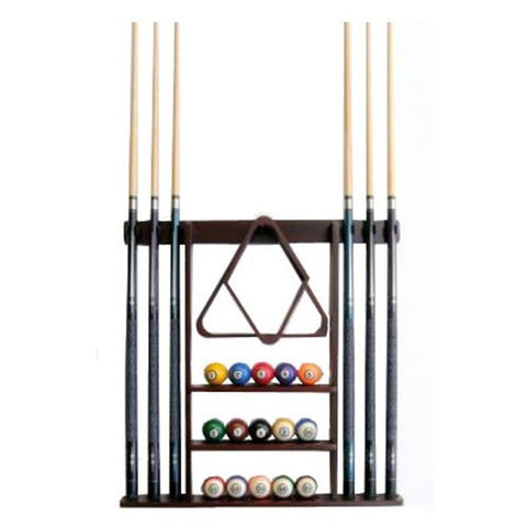 6 Pool Cue - Billiard Stick Wall Rack Made of Wood Mahogany - Chickadee Solutions - 1