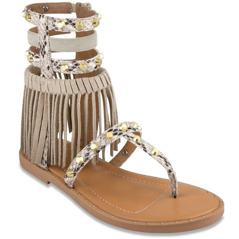 Mari A Women's Pixie Gladiator Fringe Sandal Natural Snake 7.5 B(M) US - Chickadee Solutions - 1