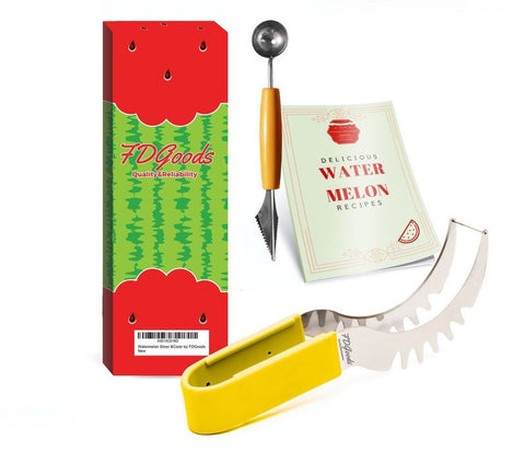 #1 Luxury Watermelon Slicer and Corer Tongs Cutter Knife Server 12 inch Large... - Chickadee Solutions - 1