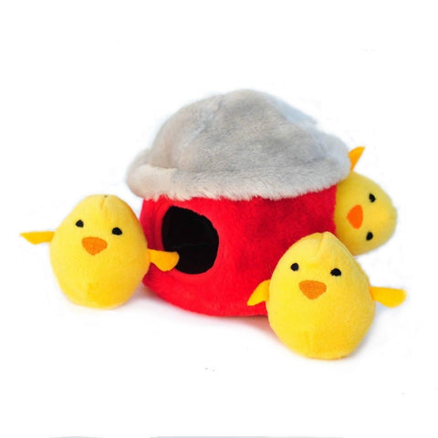 ZippyPaws Burrow Squeaky Hide and Seek Plush Dog Toy Chicken Hut - Chickadee Solutions - 1