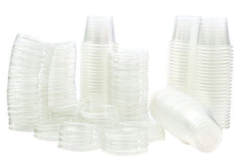 1 oz Jello Shot Plastic Tumbler Cups with Lids Translucent/Clear 100 Pcs - Chickadee Solutions - 1
