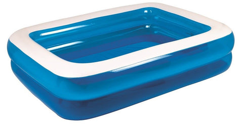 "79"" Royal Blue and White Rectangular Inflatable Swimming Pool - Chickadee Solutions"